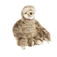 This adorable Sloth soft toy measures 28cm and is sewn from a beautifully soft and dense plush in cream and light brown.Made with great attention to detail, each cuddly sloth soft toy features fine stitching, button eyes and nose.Very huggable, this sloth toy would make a wonderful new friend.