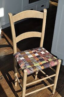 woven chair seat made from old men's ties...LOVE this idea, hoping to make one for the kitchen with ties from all of the men in our family :)