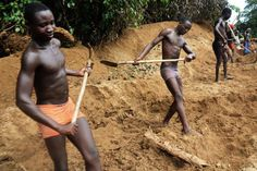 Barefoot, with sweat pouring down their naked chests, 50 men slave in the depths of the Central African forest digging for diamonds in a sandy pit half the size.