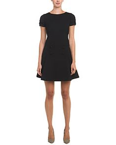 RED Valentino Black Button Dropped Waist Dress