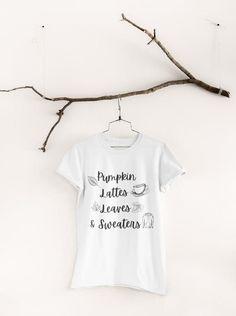 Cute Fall T-Shirt Pumpkin Latte Shirt Leaves Shirt Fall | Etsy