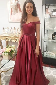 Elegant Off the Shoulder Burgundy Long Prom Dress Party Dress