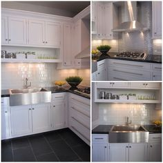Love the stainless steel, subway tile, floor, and cabinet hardware
