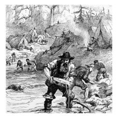 This picture depicts the struggle that miners had to endure while panning for gold during the gold rush.  Many miners had to pan in the same area and it was difficult to find enough gold so that could survive much less strike it rich.  Many miners also became ill due to living in substandard ways and died due these illnesses.