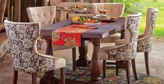 Rustic Dining Table paired with Comfy Upholstered Chairs | Cost Plus World Market