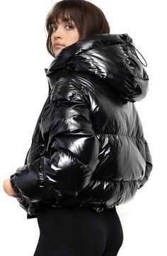 Puffer Jackets, Winter Jackets, Hooded Cloak, Black Down, Jackets For Women, Clothes For Women, Clothing Items, Nordstrom, Silhouette