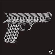 Smith Wesson Hand Gun Rhinestone Diamante Transfer Iron On Hotfix TShirt Motif