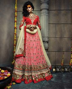 Peach and red lehenga with sequins work design and heavy border (Semi- – Rutbaa India