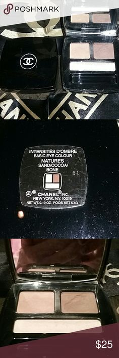 Chanel Eye Shadow Beautiful Chanel Nature's basic eye colors. Intensities D'ombre in Sand, Cocoa and Bone. Fabulous for eye contouring and highlighting. fabulous for icon touring and highlighting. Used 2 or 3 times very well preserved and cared for. CHANEL Makeup Eyeshadow