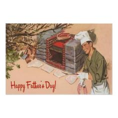 Dad Barbeque BBQ Retro Ad Vintage Father's Day Poster from Zazzle.com