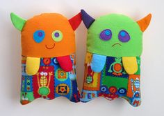 Stuffed Monster Toy Pattern - PDF Sewing Pattern for Plush Monster-Monster Helps Children Show Feelings Washable Cloth Soft Toy. by My Funny Buddy