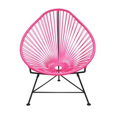 Enjoy hot weather and a tropical cocktail with this woven 1940s-style lounge chair. Inspired by the relaxing feel and airiness of backyard rope hammocks, the chair has been constructed using a traditio...  Find the Cancun Chair with Black Base, as seen in the Labor Day Sale: Outdoor Collection at http://dotandbo.com/collections/labor-day-sale-outdoor?utm_source=pinterest&utm_medium=organic&db_sku=INN0002-pnk