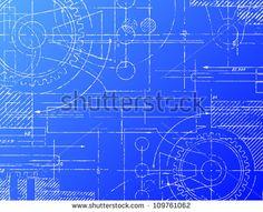 Grungy technical blueprint vector illustration on blue background