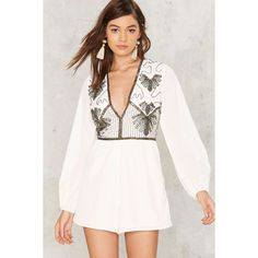 Nasty Gal Bead All About It Plunging Romper (395 BRL) ❤ liked on Polyvore featuring jumpsuits, rompers, white, sequin rompers, pink romper, plunging neckline romper, sequin romper and pink rompers