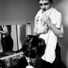 Ian Curtis & Stephen Morris of Joy Division post-show, Joy Division, Ian Curtis, Music Icon, My Music, Jazz, Feminist Theory, Anthony Perkins, Portraits, Bruce Springsteen