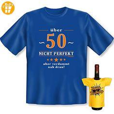 Geburtstags Set T-Shirt + Mini für die Flasche <-> über 50 Jahre <-> ein kleines lustiges Geschenk Goodman Design®Royal-Blau (*Partner-Link)