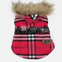 Cat / Dog Coat / Hoodie Red / Yellow Dog Clothes Winter Plaid/Check Fashion / Plaid 2016 - $12.59