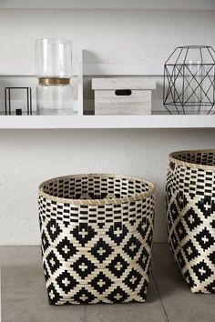 Earthy baskets for clean towels to maximize storage. our linen closet is already tiny so this way our towels are store nicely and are in our reach. they will also serve as decor.