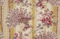 1910 antique French printed fabric ~ wonderful floral and striped ground ~ from The Textile Trunk ~