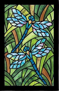 Stained Glass Dragonfly (70 pieces)
