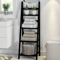 Keep towels neat and fresh is part of Bathroom storage shelves - Towel storage ideas for tidy bathrooms Bathroom Towel Storage, Bathroom Towels, Bath Towels, Bathroom Organization, Bathroom Ladder Shelf, Towel Shelf, Bathroom Canvas, Storage Ideas For Bathroom, Organization Ideas