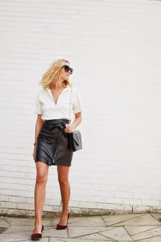 adenorah- Blog mode Paris Reiss leather skirt - Reiss heels - Zara top - Saint Laurent bag - Céline sunglasses