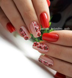 Discover new and inspirational nail art for your short nail designs. Flower Nail Designs, Short Nail Designs, Nail Art Designs, Bling Nails, Red Nails, French Manicure Designs, Flower Nails, Christmas Nails, Nails Inspiration
