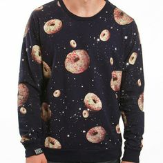 "Space Donuts Sweater Navy sweatshirt featuring space donuts! With sprinkles! Lightweight sweatshirt material. Oversized fit (this is a mens size small) 19"" across at bust. New without tags. Drop Dead Tops"