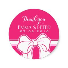 Hot Pink and White Ribbon Bow #Wedding Favor Thank You Sticker #bride bridal shower birthday girl baby shower