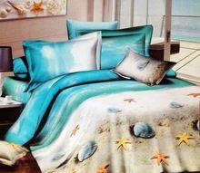 3d okyanus plaj 100% pamuk tasarımcı yatak nevresim takımları kraliçe yatak örtüsü nevresim yatağı torba sac yorgan çarşaf(China (Mainland))