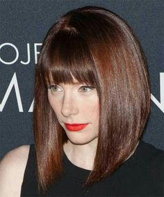 Bryce Dallas Howard Medium Straight Formal Bob Hairstyle with Blunt ...