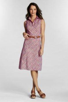 NQP Women's Petite Sleeveless Pattern Poplin Dress from Lands' End