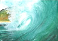 ORIGINAL Watercolor Painting- California Wave 9x12. $42.00, via Etsy.