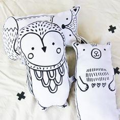 Owl Hand Printed Softie / Soft Toy / Cushion / by BabeeandMe
