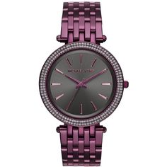 Michael Kors Women's Darci Plum Stainless Steel Bracelet Watch 39mm... ($250) ❤ liked on Polyvore featuring jewelry, watches, plum, dial watches, sparkle jewelry, sparkly watches, stainless steel wrist watch and stainless steel watch bracelet