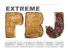 Extreme PB&J  Program Advertisement-  Resident assistants find your programming ideas here!  Residence hall RAs can get tons of ideas and downloadable flyers here. Good for resident assistants, hall directors and all other  res life staff. RA program ideas.
