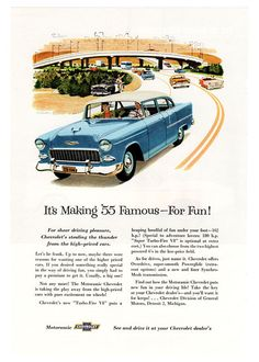 Vintage Car Ad  1955 Chevy Bel Air Ad  1950's by tennaTATS on Etsy, $6.99