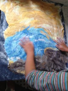 DIY - Wet felted play mat from the Wandering woods blog - use same technique for making felt sheets
