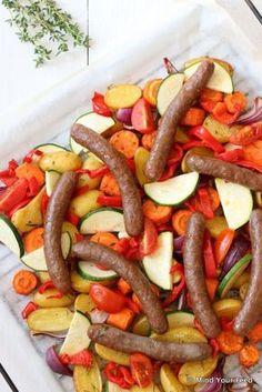 Italiaanse groenten met worstjes uit de oven