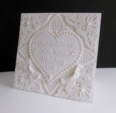 Wedding Heart Card - made with Marianne Dies and a Nellie Snellen Heart die. Words made with Tattered Lace Sentiments 2014 die set.
