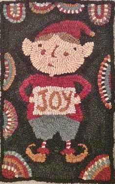 Star Rug Company features primitive hooked rugs and patterns, including original designs by Maria Barton. Christmas Rugs, Rugs And Mats, Rug Hooking Patterns, Hand Hooked Rugs, Rug Company, Christmas Elf, Vintage Christmas, Penny Rugs, Holiday Themes
