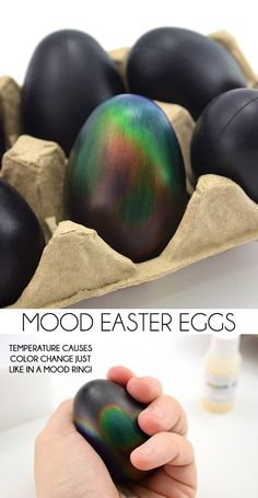 These mood ring Easter eggs change colors just like a mood ring! Easter eggs of the future! SO cool! These mood ring Easter eggs change colors just like a mood ring! Easter eggs of the future! SO cool! Easter Egg Dye, Hoppy Easter, Easter Party, Easter Bunny, Cool Easter Eggs, Easter Table, Easter 2018, Easter Stuff, Funny Easter Eggs