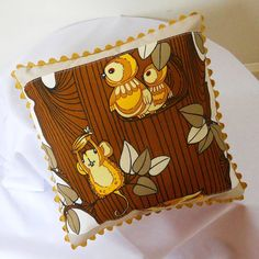 Retro Childs Nursery Tooth Cushion in 70s Woodland by audreyscat, £20.00