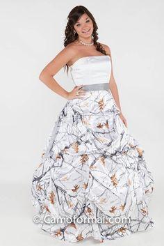 3044 White And Snowfall Platinum Sash Maybe Prom Dress Orange Camo Wedding DressCamouflage DressCamo DressesCountry
