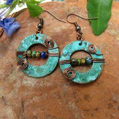 Turquoise Copper Earring Bohemian earring by IsleofSkyeJewelry