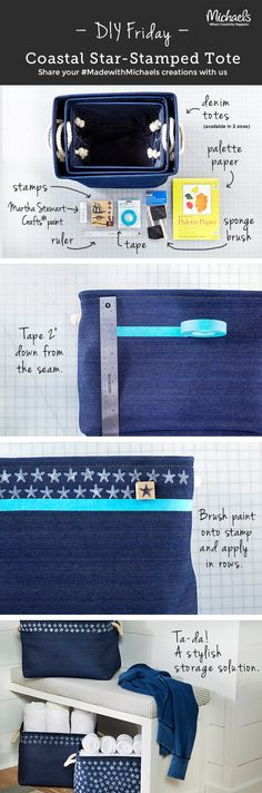 Keep your beach supplies safe and dry in trendy DIY stamped denim totes. DIYFriday