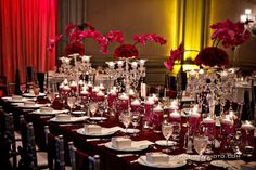 indian-weddings-reception-centerpieces-hot-pink-maroon-red-white-cream