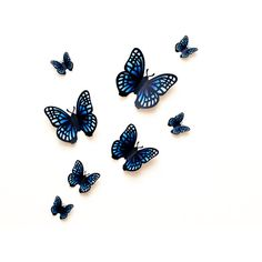 3D wall butterflies blue gradient butterfly wall art for nursery,... (€19) ❤ liked on Polyvore featuring home, children's room and children's decor