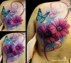 #purple #butterfly #flowers #back #tattoo
