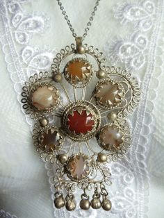 Vintage necklace with silver filigree and by Charsfavoritethings, $20.00